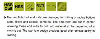 2 Flute 3-3//8 Length YG-1 57022HN HSS End Mill Double Miniature Ball Nose TiN Finish Long Length 3//16